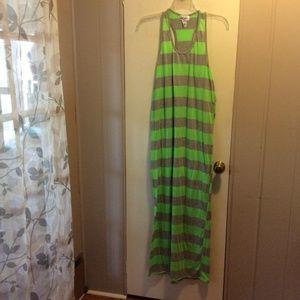 Hot Ginger Green & Gray Knit Racer Back Maxi Dress